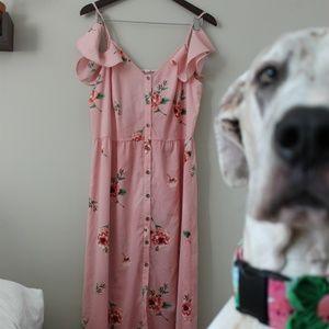 Pink Flower Maxi Dress
